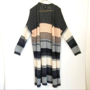Mossimo Open Cardigan Gray/pink striped Sweater